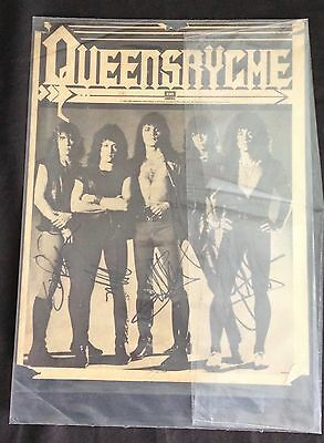 Signed by 4 Queensrÿche Original B&W Newspaper Autographed Tate Wilton Ed twice
