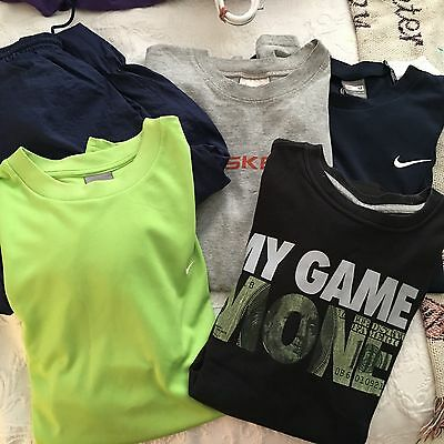 LOT of 5) NIKE TSHIRTS, ATHLETIC PANTS, PULLOVER  MENS SIZE M--ALL EUC