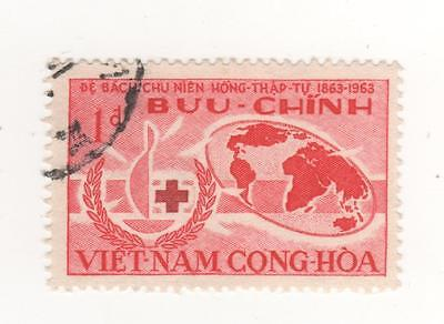 1963 South VIETNAM 1d. Red RED CROSS CENTENARY ( MAP ) stamp SG#S200 USED