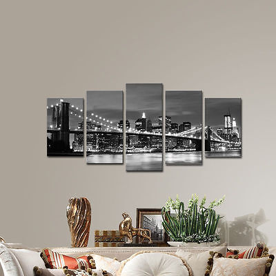Canvas Wall Art Print Photo Painting Home Decor Poster New York Gray Cityscape