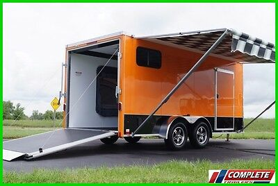 COMING SOON! 7 X 16 V-Nose Enclosed Motorcycle, UTV Popout Sleeper Trailer