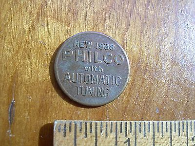 """PHILCO """"New 1938 with Automatic Tuning"""" GOOD LUCK coin. Anniversary Celebration"""