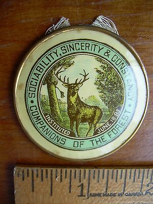 Companions of the Forest Stag antique medal large 1 5/8 in. Trace of ribbon left