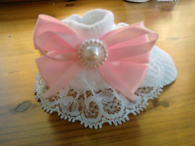 baby girls white socks with romany lace and big pink bows size 0-3 months new