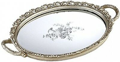 Silver Floral Small Decorative Mirrored Tray Perfume Vanity Two Handles Decor