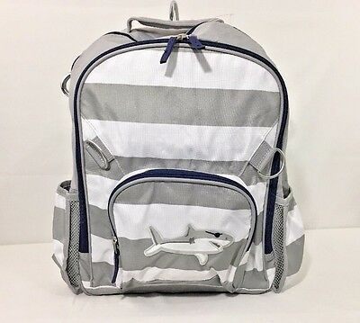 Pottery Barn Kids Fairfax Large Backpack Gray/White Striped Shark Patch