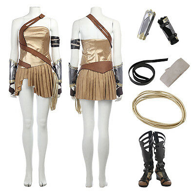 Wonder Woman Diana Prince Gold Cosplay Costume Halloween outfit with Boots