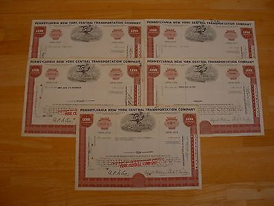 Lot of 5 Pennsylvania New York Central Transportation Company Stock Certificates