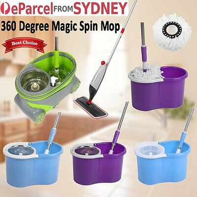 360 Degree Spinning Mop& Stainless Steel Spin-Dry Bucket w/2 Mop Heads Free Home