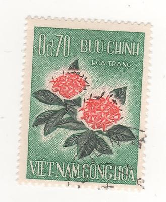 1965 South VIETNAM 70c. Red & Green MID AUTUMN FESTIVAL - FLOWER SG#S241 USED