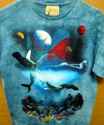 THE MOUNTAIN Organic Cotton T-Shirt WHALES & DOLPHINS Tie-Dyed Adult Med NEW