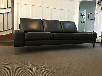 3 Seat Leather Couch And Ottoman