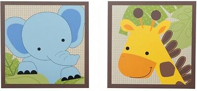 Lambs and Ivy Bedtime Originals Jungle Buddies Wall Decor giraffe elephant