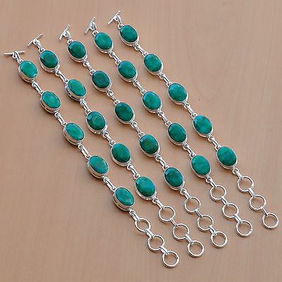 Wholesale Lot 5Pc 925 Silver Plated Faceted Green Emerald Stylish Bracelet