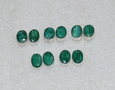 Wholesale 5Pair 925 Silver Plated Green Emerald Nice Studd Earring Lot