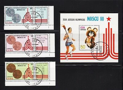 Moscow Olympic Games Misha Souvenir sheet Complete Set of 3