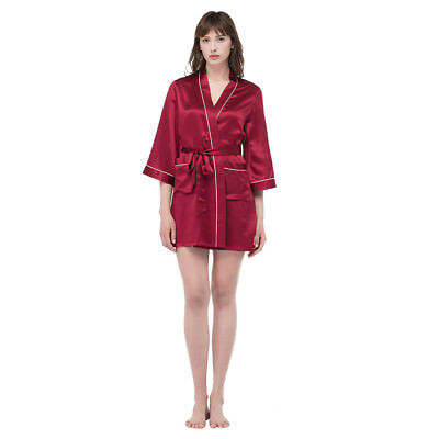 NEW LILYSILK 22 Momme Mid Length Silk Robe With Contrast Trim for Women 100  Silk 36ccf2dcd