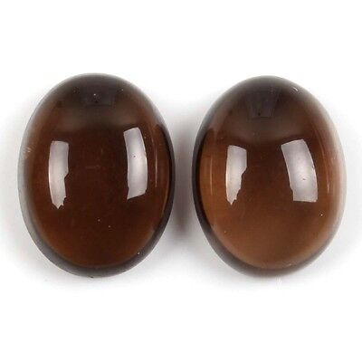 15x11 mm SMOKY QUARTZ Oval Cabochon Pair 16.5 Cts Gemstone For Jewellery s-24810