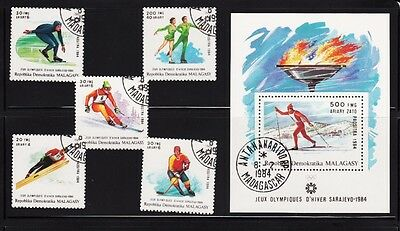 Sarajevo Winter Olympic Games Souvenir sheet Complete Set of 5 Malagasy