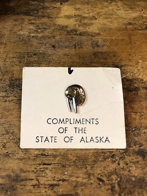 Vintage Enamel Walrus Lapel Pin - Compliments Of The State Of Alaska