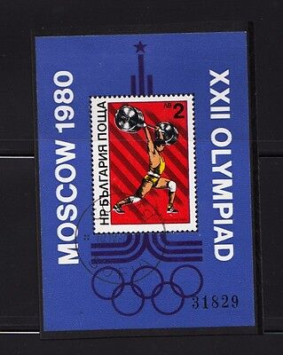Moscow Olympic Games Weight Lifting Souvenir sheet Bulgaria