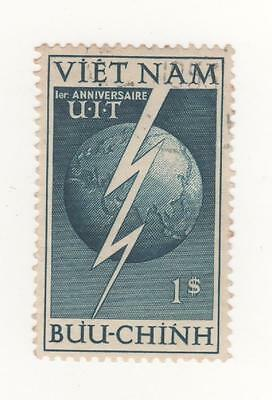 1952 VIETNAM I/S - 1p. Blue 1st anniversary of admission into I.T.U SG#81  used