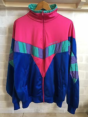 Vintage Retro 90s 80s Bold Colourful Tracksuit Track Top Zip Festival Jacket XL