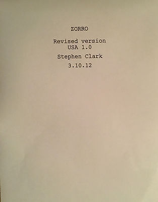ZORRO - Play Script for Musical w/music by Gipsy Kings - Unbound Copy