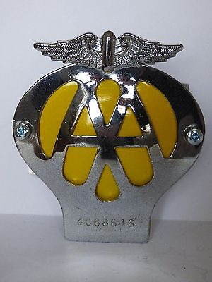 1950s/1960s VINTAGE CAR AA BADGE REFURBISHED WITH NEW FIXINGS