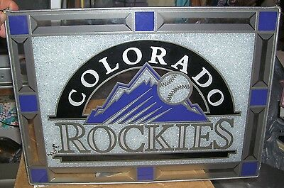 Stained glass in metal holder sun catcher Colorado Rockies MLB Baseball 1993