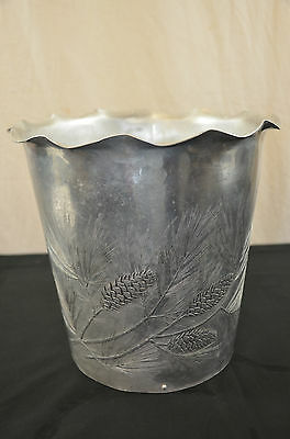 wendell august Aluminum trash can etched Pinecones 1487 #1