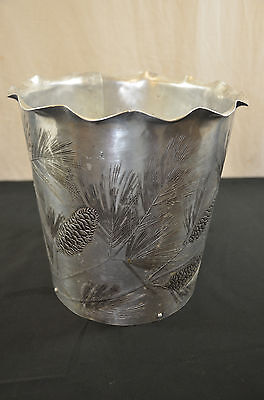 wendell august Aluminum trash can etched Pinecones 1487 #2
