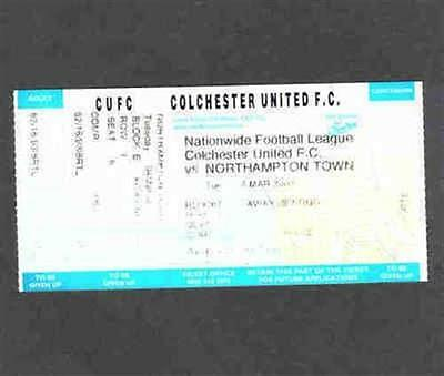 Football match / game ticket Colchester United v Northampton Town 04/03/03