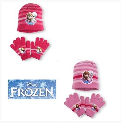 Girls Disney Frozen Winter Hat and Gloves set (Fuscia Pink Stipe) 3 to 7 Years