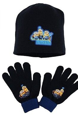 Kids Disney Me Minions Winter Hat and Gloves set (Black) 3 - 7Years