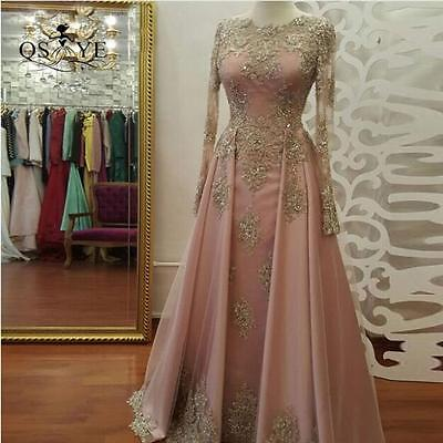 Long Sleeve Gold Lace Evening Dresses Pink Satin Formal Women Gowns Custom