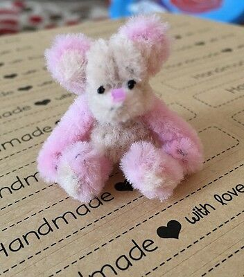 Dollhouse Tiny Handmade Cute Teddy Bear Pink And Beige 1inch Tall