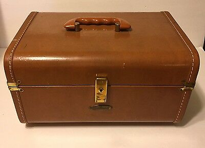 Vintage Maximillian Brown Cosmetic Travel Case Luggage