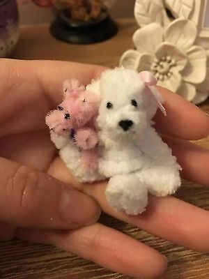 Tiny Handmade Fluffy White Teddy With Piglet Dolls Houses Etc 1 1/2 Inches