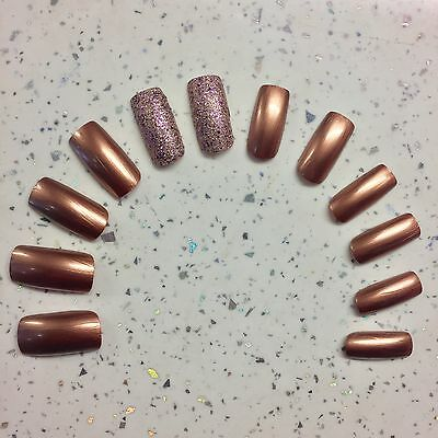 Metallic Copper Gold & Glitter Hand Painted Square False Nails (12 Nails)