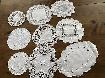 Vintage White On White Embroidered Small Doilies.