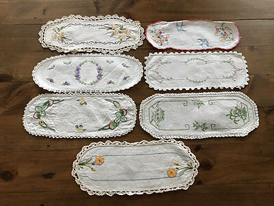 Vintage Embroidered Sandwich Tray Doilies,7 Of Them