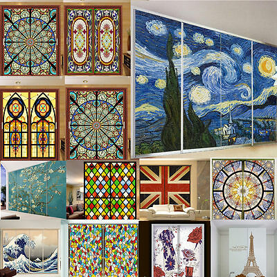 Customized Static Cling Frosted Stained Glass Window Film Translucent Privacy