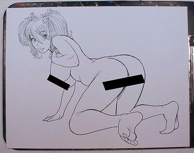 MANDY NUDE PINUP INK DRAWING ORIGINAL COMIC ART PRINT by Key
