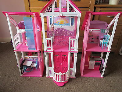 Large Barbie Dolls House Floor Standing Including Furniture in 3 Sections