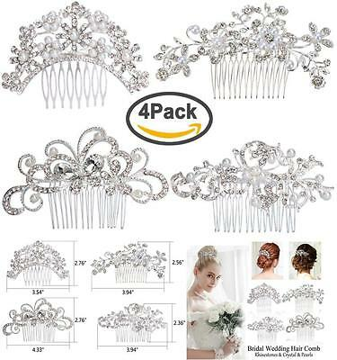 Bridal Wedding Hair Piece Bride Party Comb Bead Rhinestones Headpiece 4 pcs new
