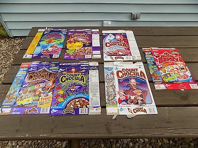 Lot of 7 1990's Count Chocula and Franken Berry Cereal boxes Scooby-Doo