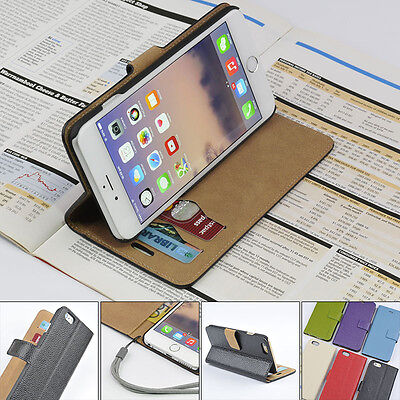 For Apple iPhone 6/6s Genuine Leather Wallet Case Card Holder Stand Flip Cover