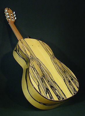 Spanish Flamenco Guitar.  Luthier Juan Montes. White Ebony Guitarra.  Hard Case