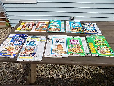 Vintage Lot Kellogg's Cocoa Krispies, Fruity Krispies, Rice Krispies cereal box